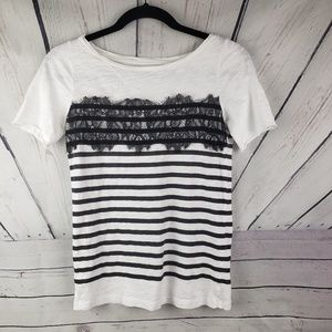 LOFT   white Tshirt with black stripe and lace XXS